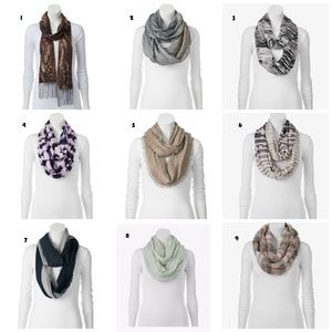 Brand Name Scarves 1 for $10 OR   2 for $15